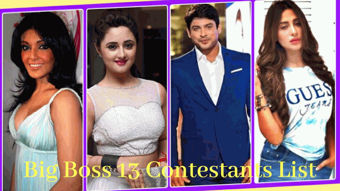 Bigg Boss 13 Contestants Name List B20masala